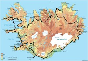 Iceland, showing our route